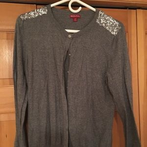 Merona Grey Sweater With Sequin Accents